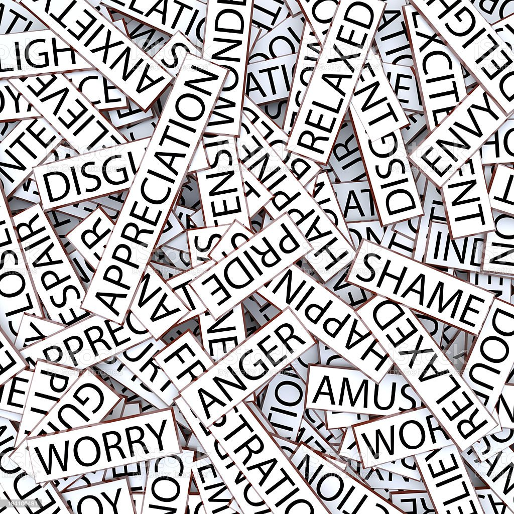 Jumbled words - emotions royalty-free stock photo