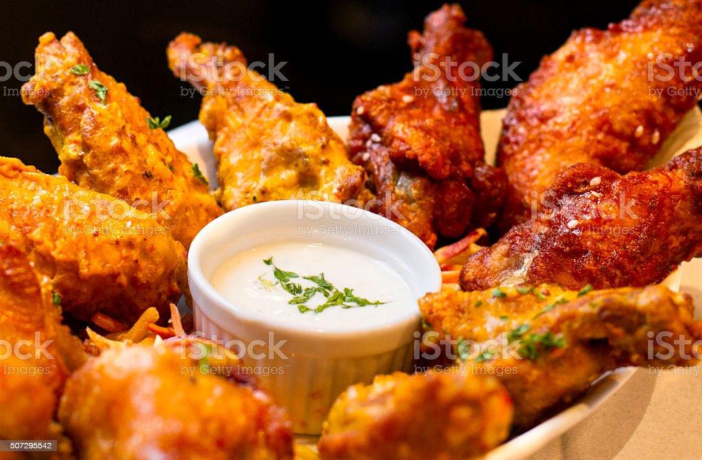 Jumbo Chicken Wings- Variety stock photo