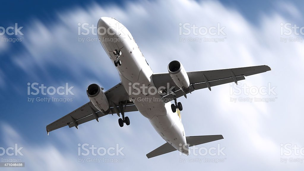 Jumbo jet A320 commercial airplane landing stock photo