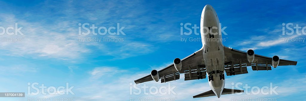 jumbo jet airplane landing in bright sky royalty-free stock photo