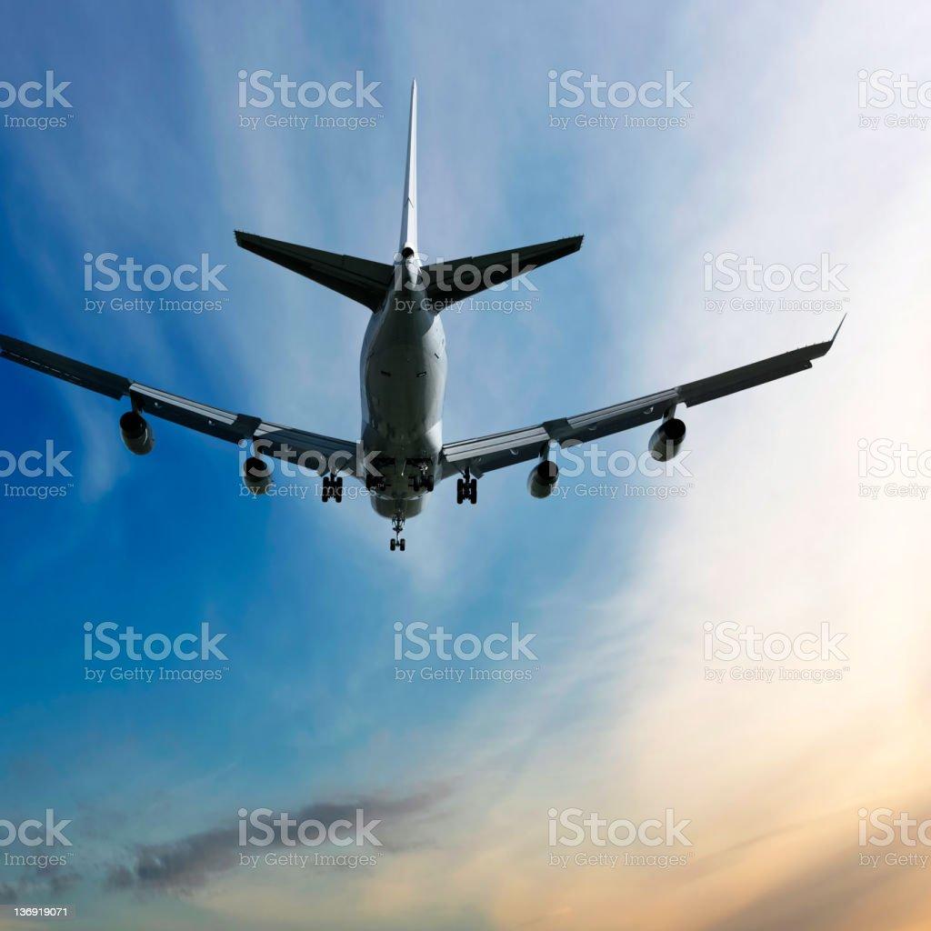 XXL jumbo jet airplane landing royalty-free stock photo