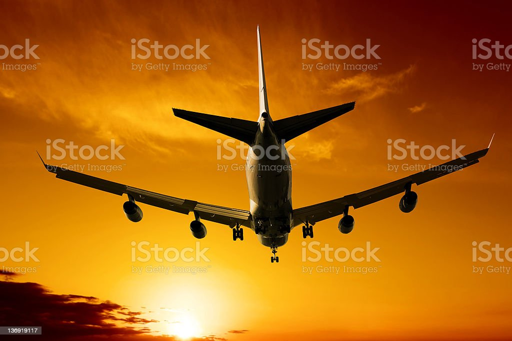 XL jumbo jet airplane landing royalty-free stock photo