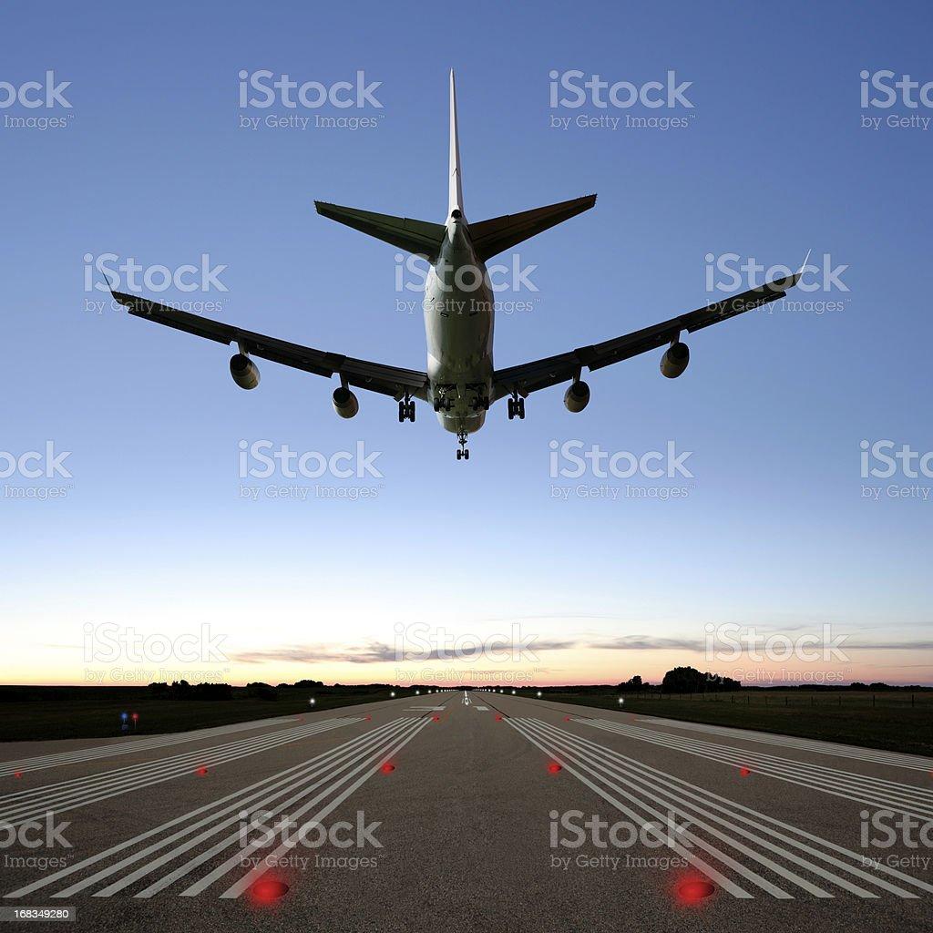 XXXL jumbo jet airplane landing royalty-free stock photo