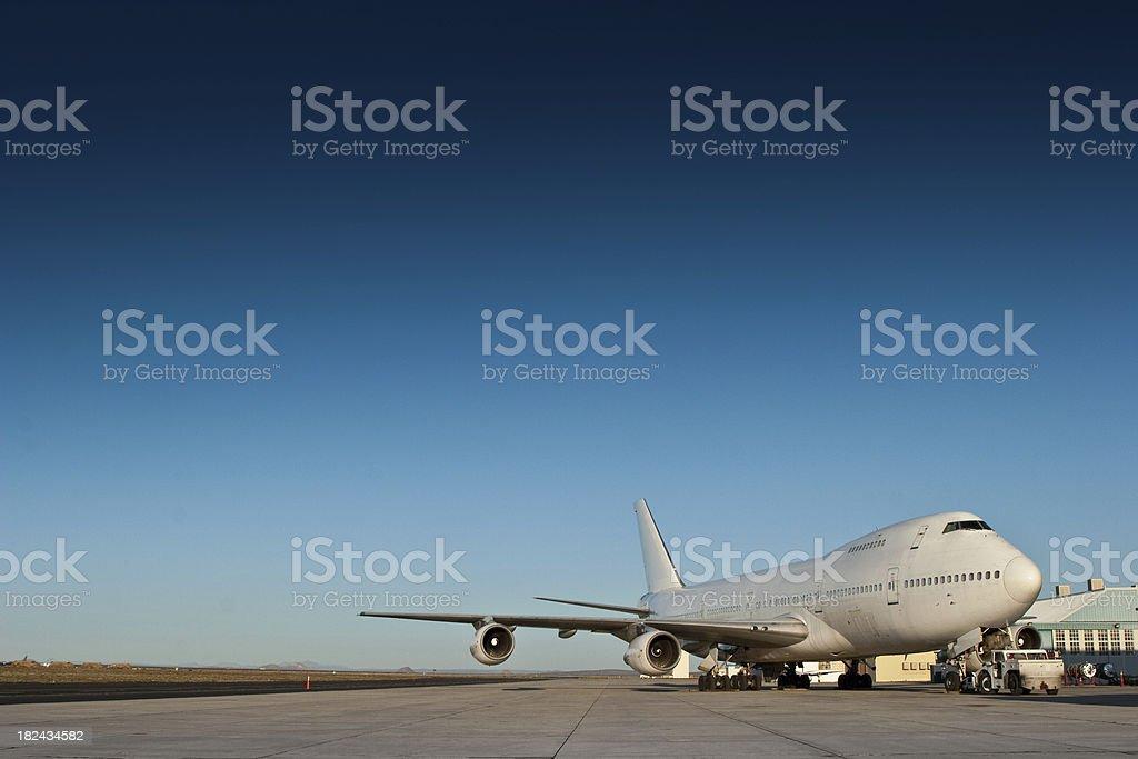 Jumbo Jet at Airport stock photo