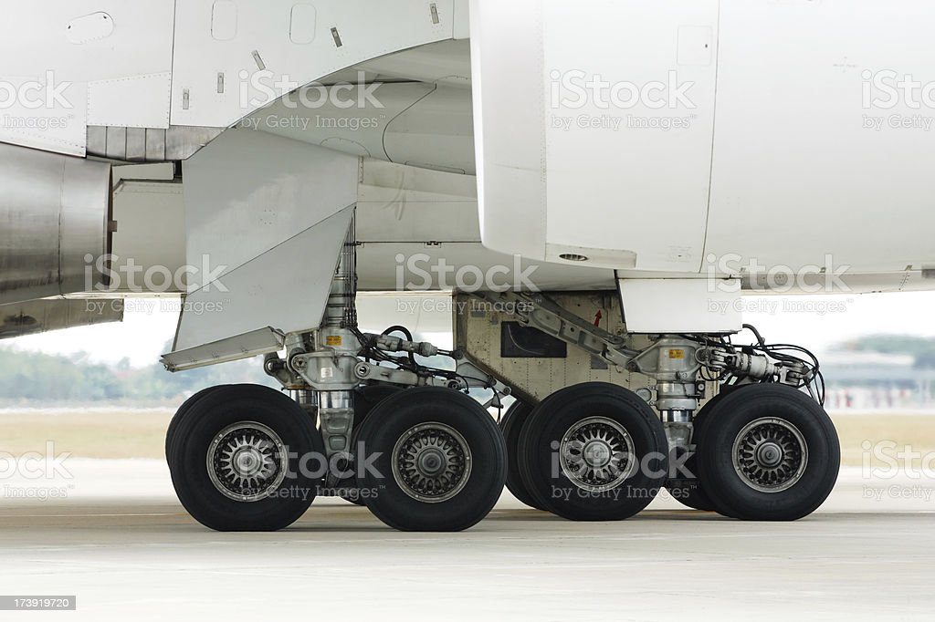 Jumbo jet landing gear royalty-free stock photo