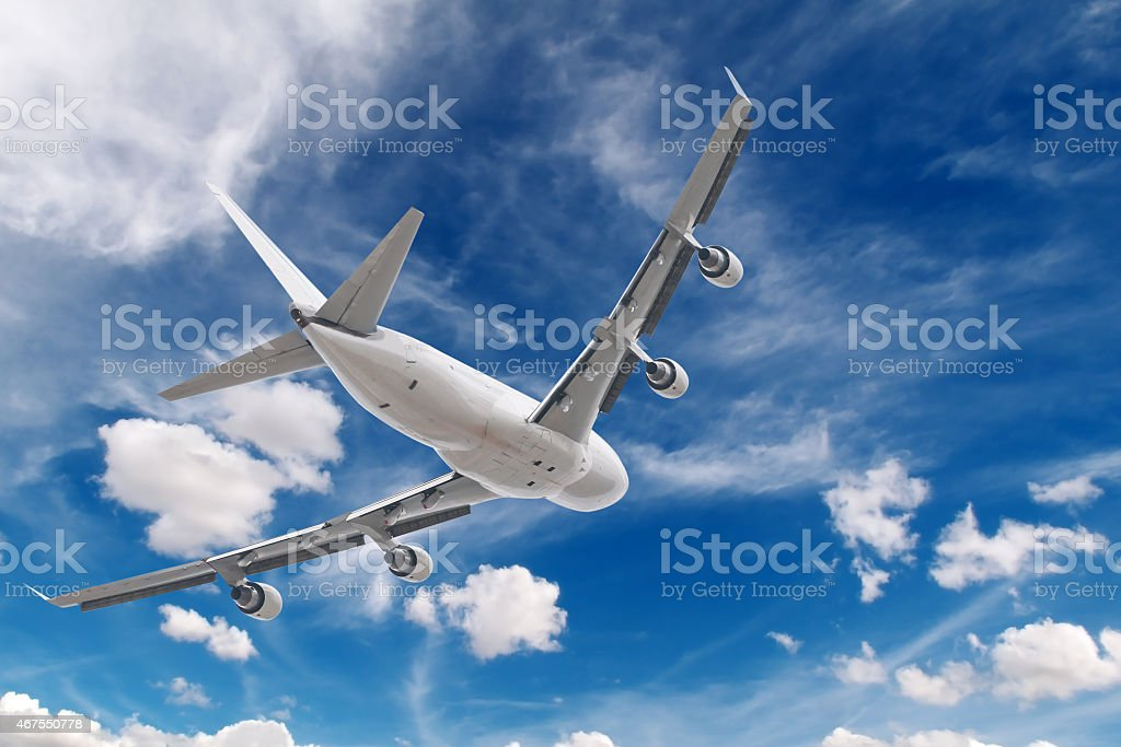 Jumbo jet taking off on a cloudy day royalty-free stock photo