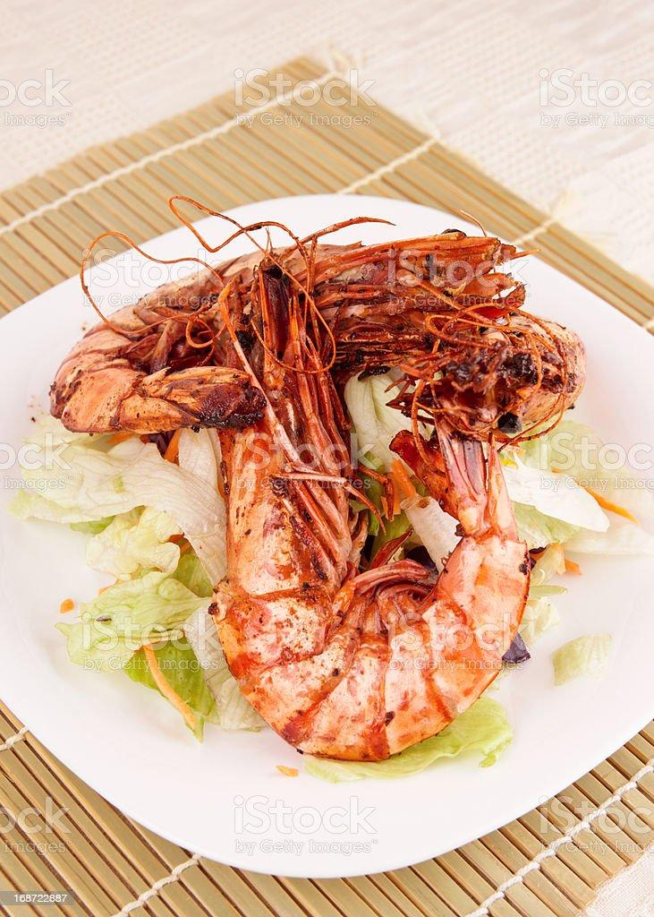 Jumbo prawns with lettuce royalty-free stock photo