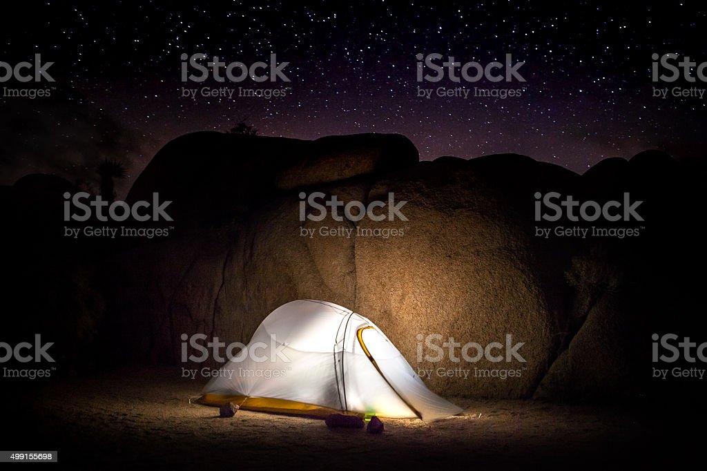 Jumbo Rocks Campsite Under The Stars, Joshua Tree National Park stock photo