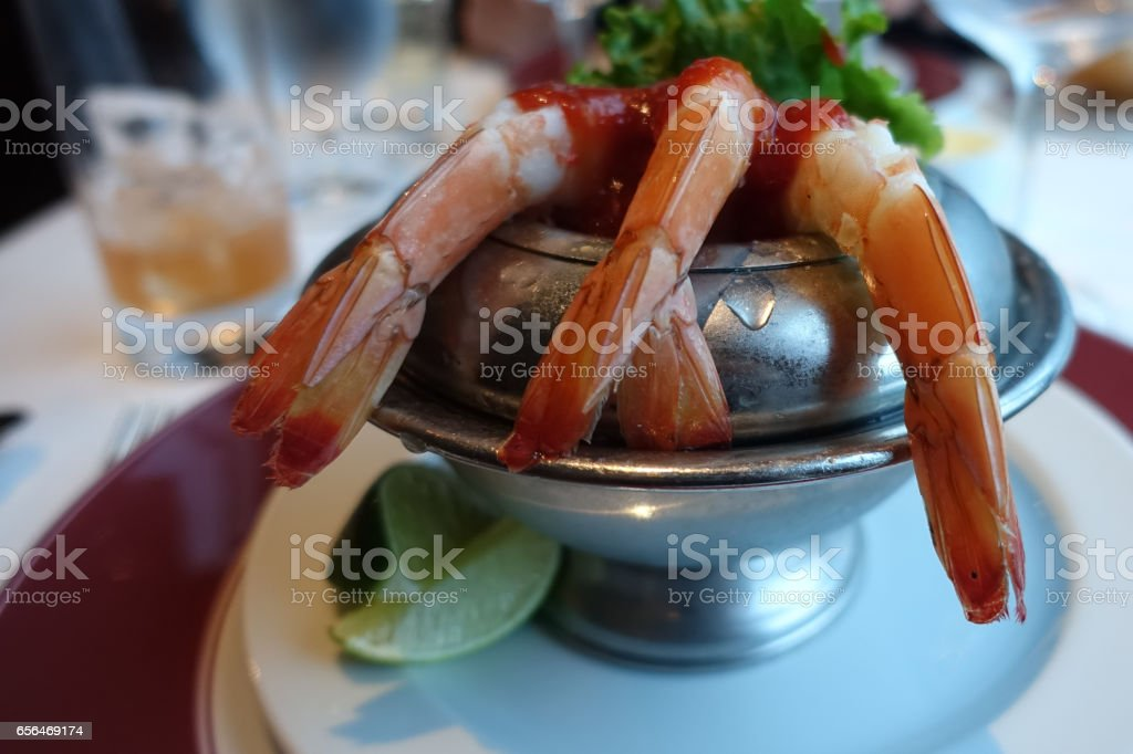 Jumbo Shrimp Cocktail on ice stock photo