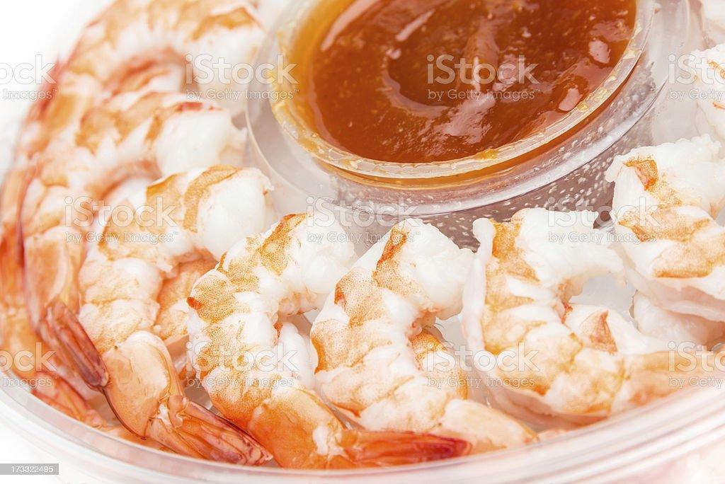 Jumbo Shrimp Cocktail Tray royalty-free stock photo