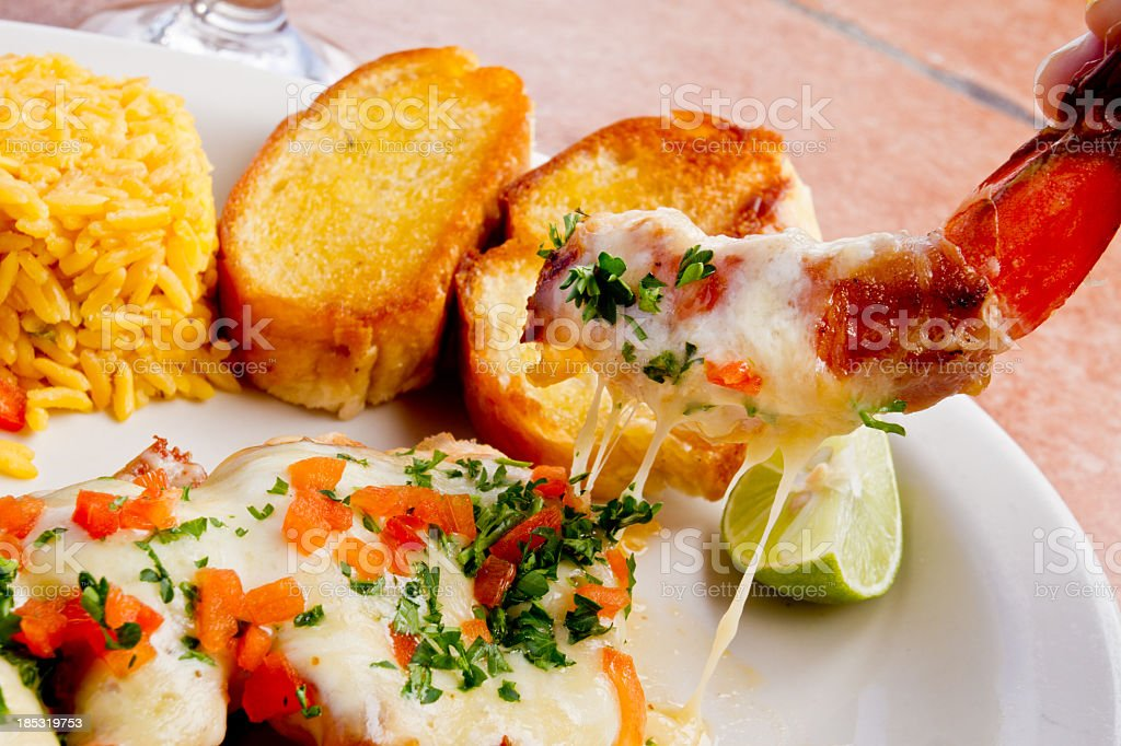 Jumbo Shrimp with Melted Cheese royalty-free stock photo