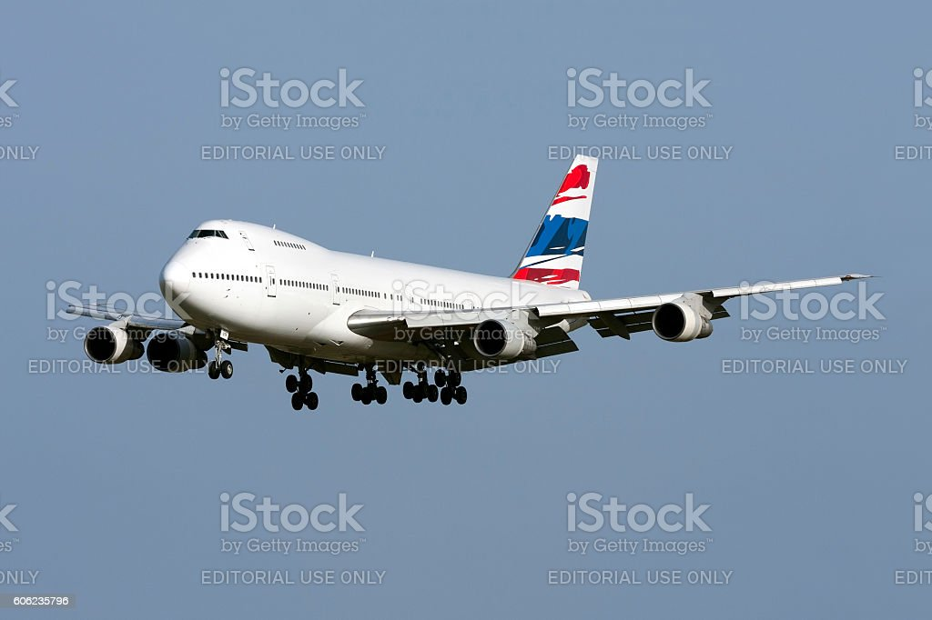 JumboJet on finals for landing stock photo