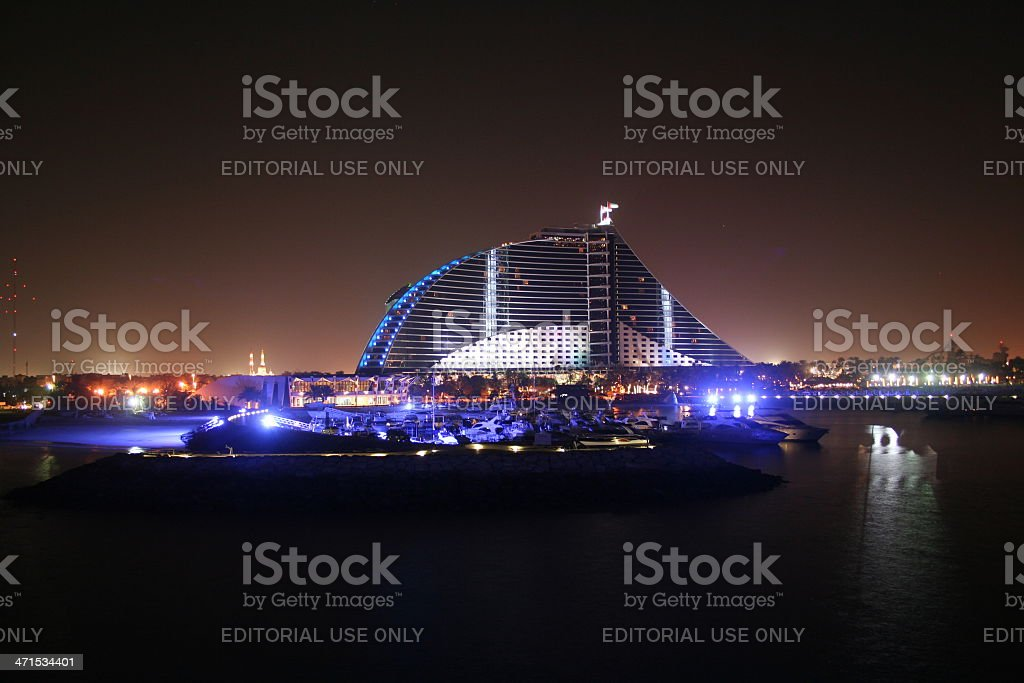 Jumeira Beach Hotel at night, Dubai stock photo
