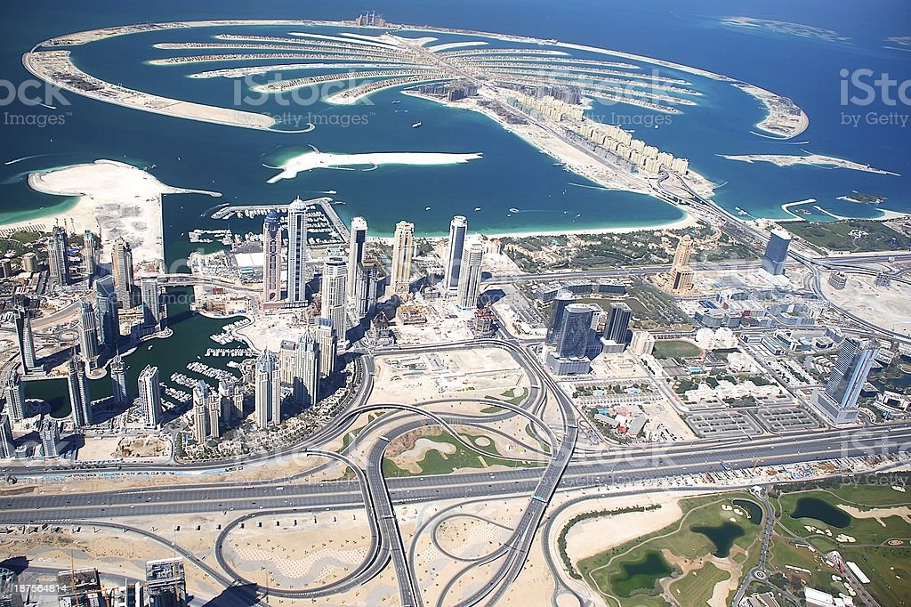 Jumeira Palm, Dubai Marina and World Islands royalty-free stock photo