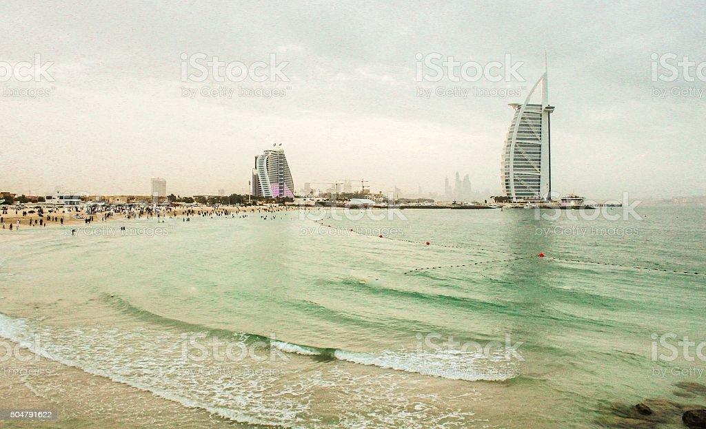 Jumeirah Beach and Burj Al Arab and Jumeirah Beach Hotel stock photo