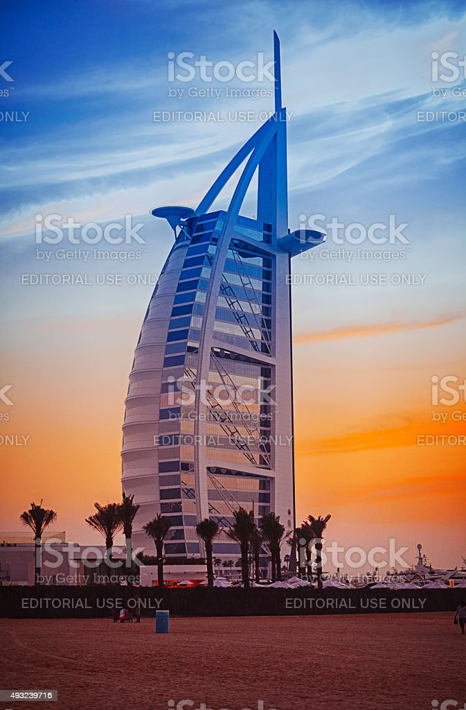 Jumeirah Beach and Burj Al Arab hotel stock photo