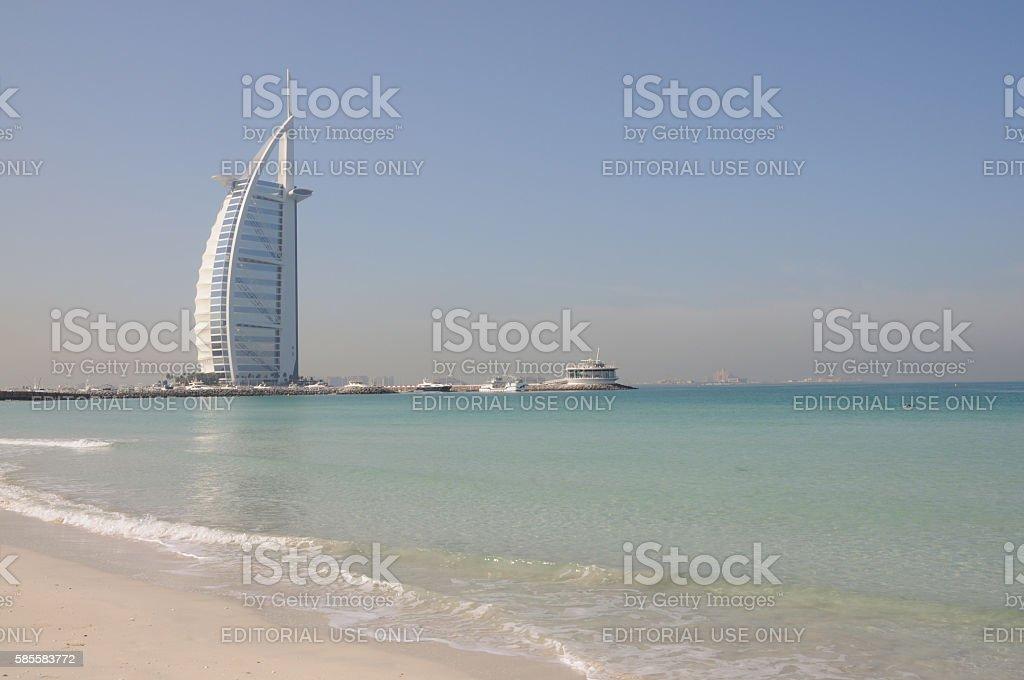 Jumeirah Beach and Hotel Burj Al Arab in Dubai stock photo