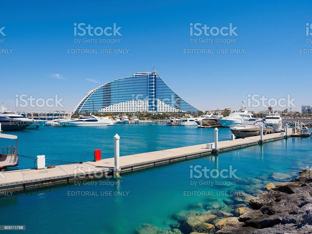 Jumeirah Beach Marina and Jumeirah Beach Hotel, Dubai. stock photo