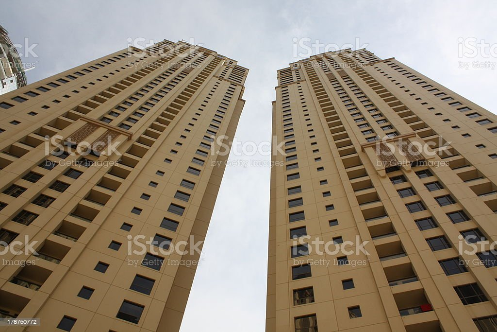 Jumeirah Beach Residence with Impressive Skyscrapers, Dubai stock photo