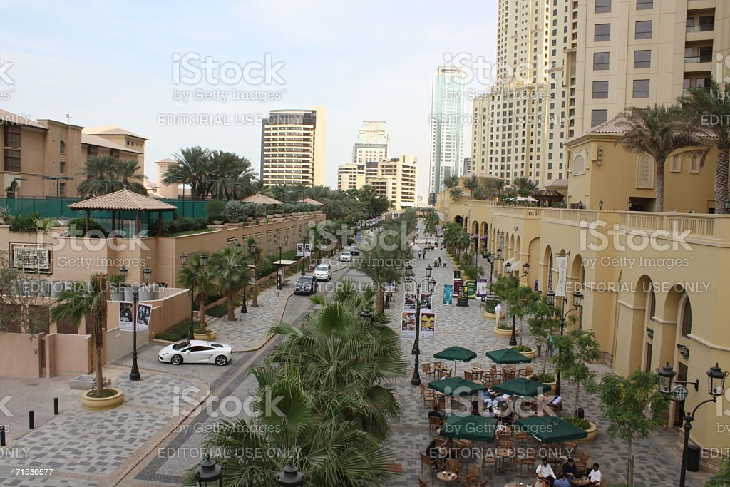 Jumeirah Beach Residence with Restaurants and Shops stock photo