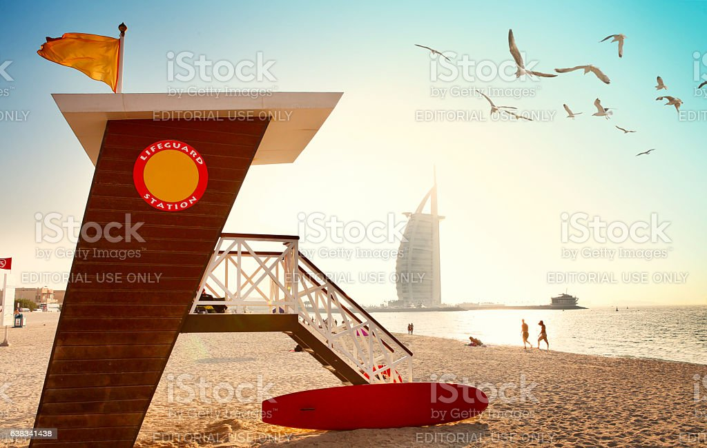 Jumeirah beach with lifeguard hut in Dubai stock photo