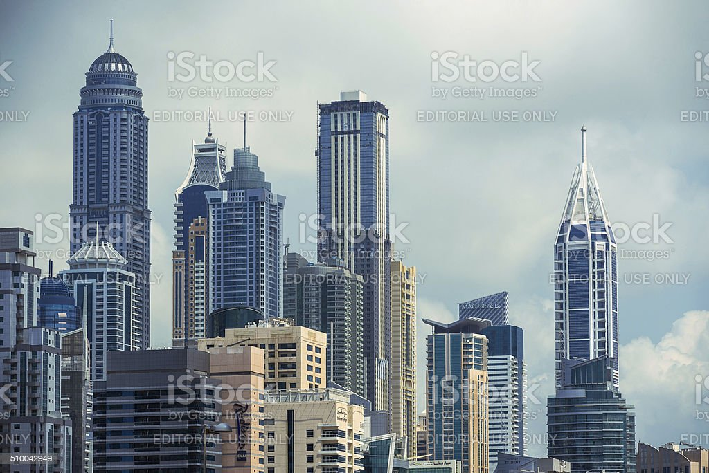 Jumeirah Lakes Towers buildings. stock photo