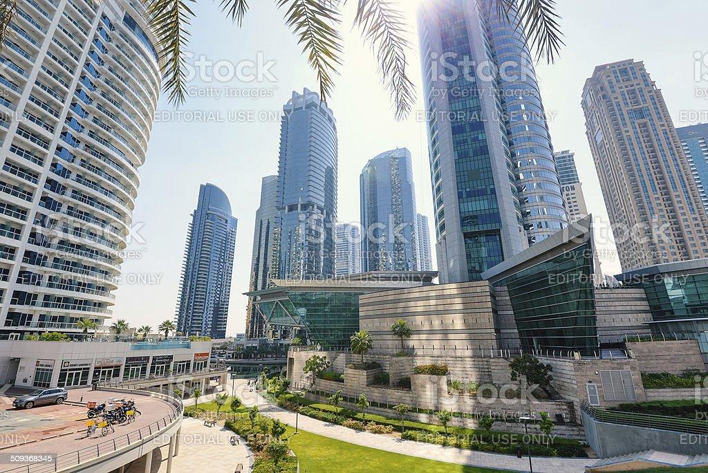 Jumeirah Lakes Towers district. stock photo