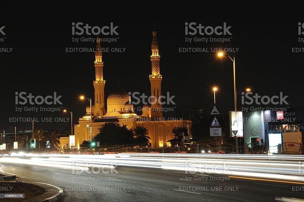 Jumeirah Mosque at night, Dubai stock photo