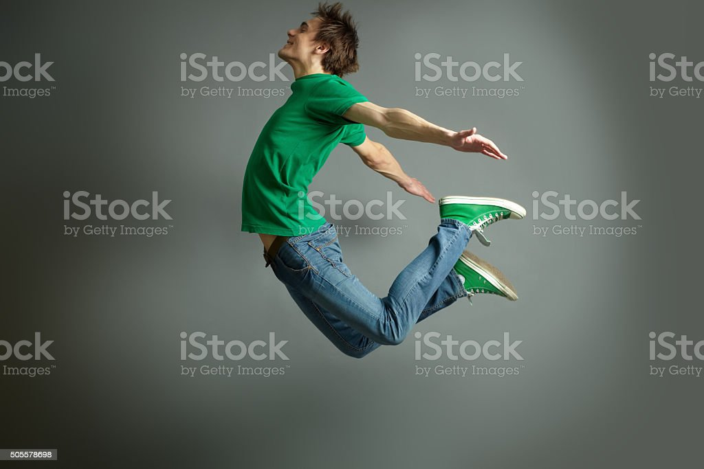 Jump and fly stock photo