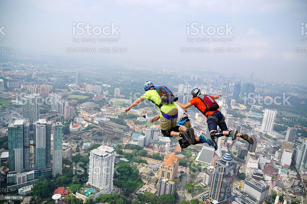 BASE Jump and selfie stock photo
