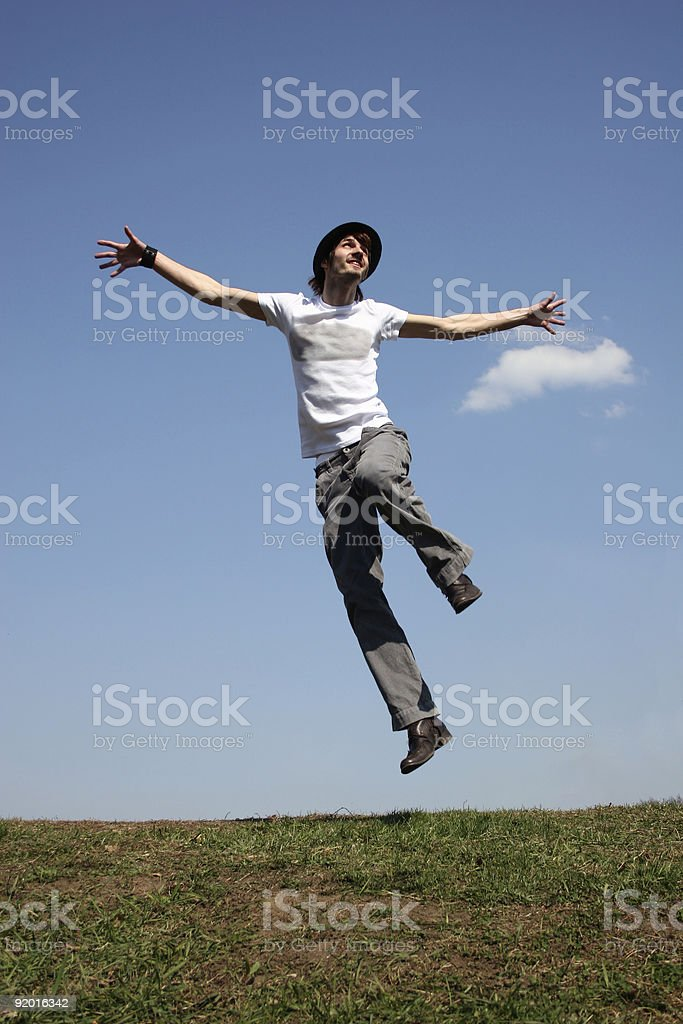 jump boy on meadow royalty-free stock photo