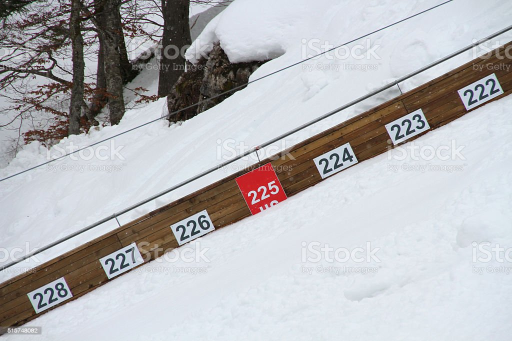 jump distances on ski jumping hill Planica stock photo