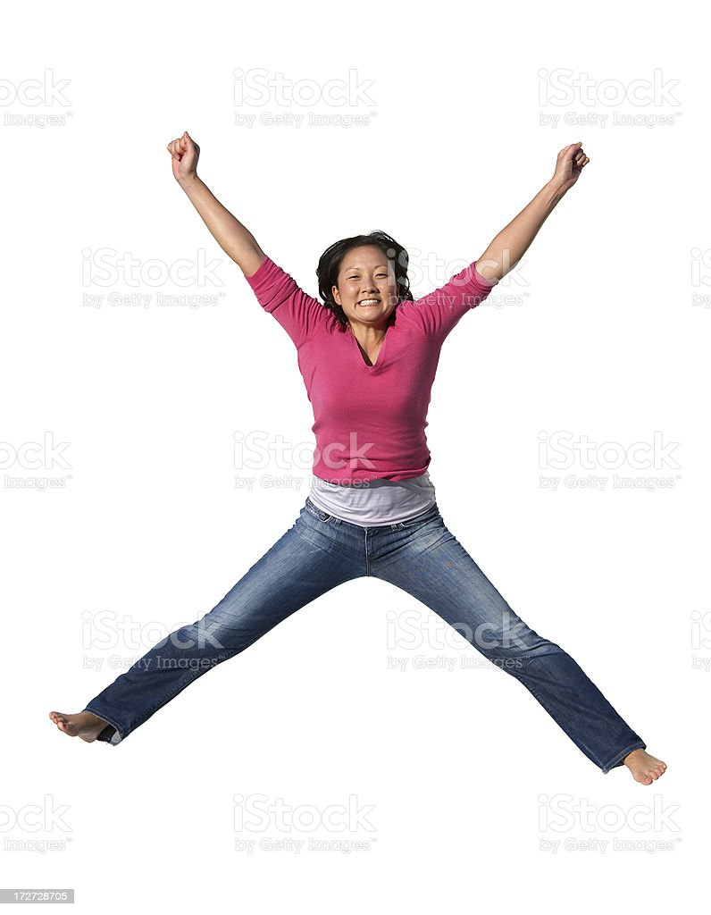 Jump for joy royalty-free stock photo
