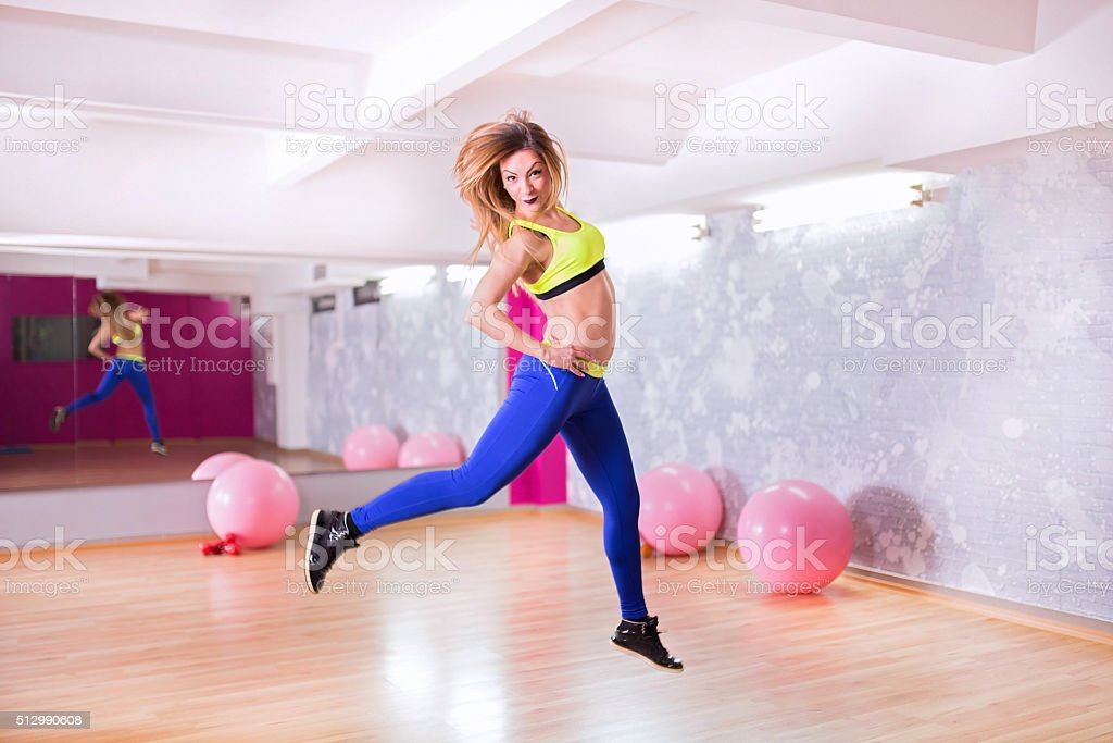 Jump for your health stock photo