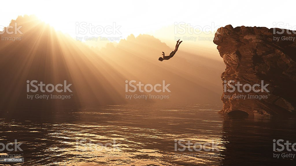 Jump from a hill stock photo