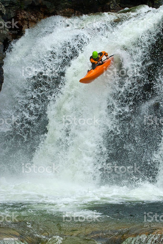 Jump from the waterfall stock photo