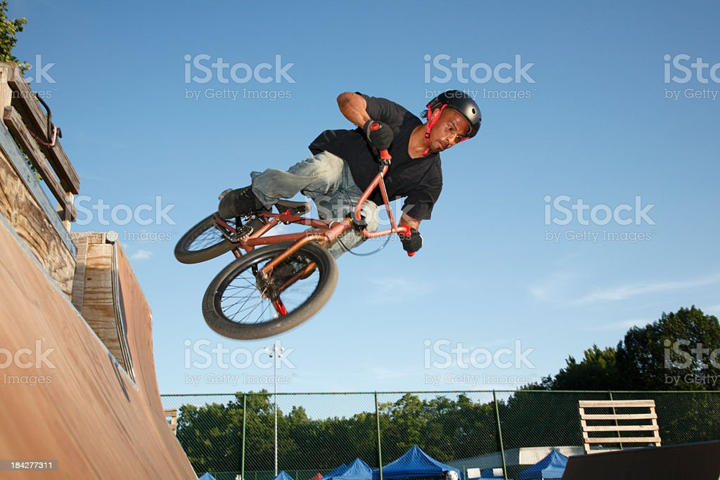BMX Jump In A Ramp Park stock photo