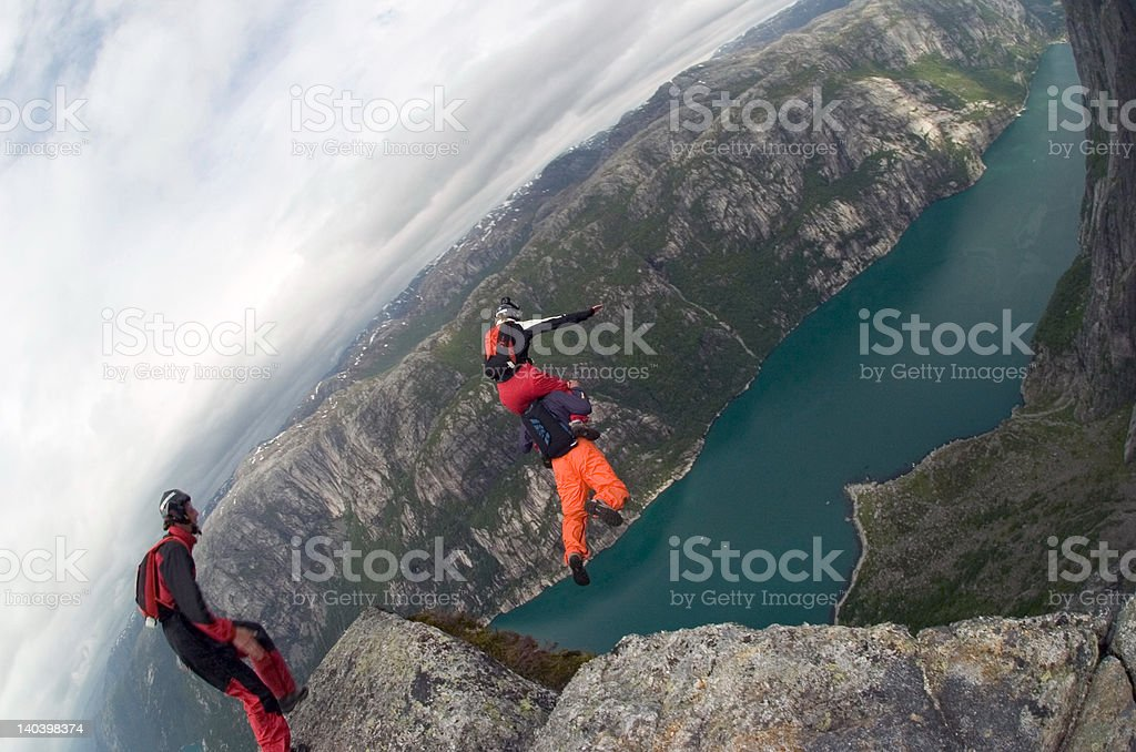 BASE Jump in Norway stock photo