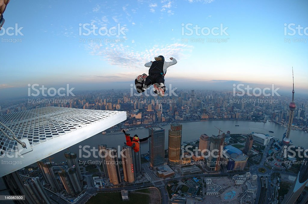 BASE Jump in Shanghai stock photo