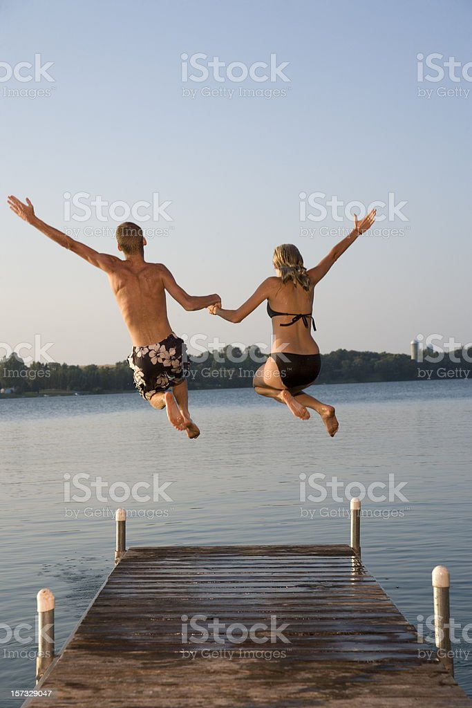 Jump in the lake. royalty-free stock photo