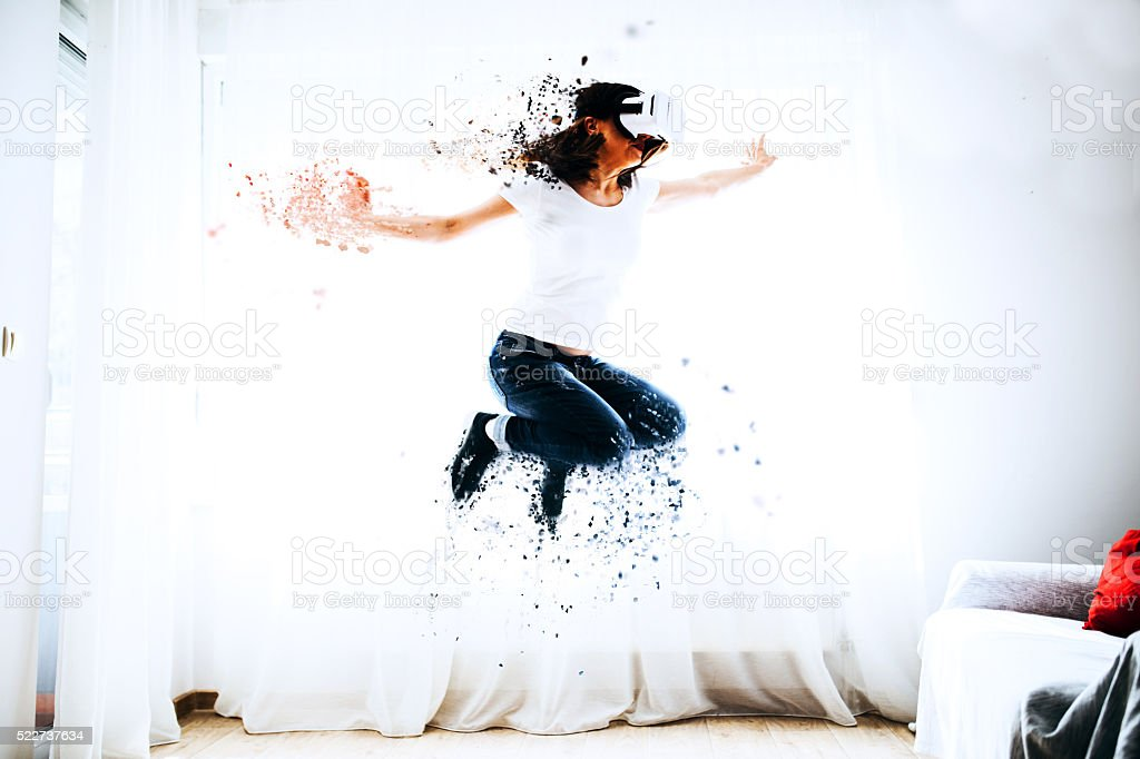 Jump in  virtual reality stock photo