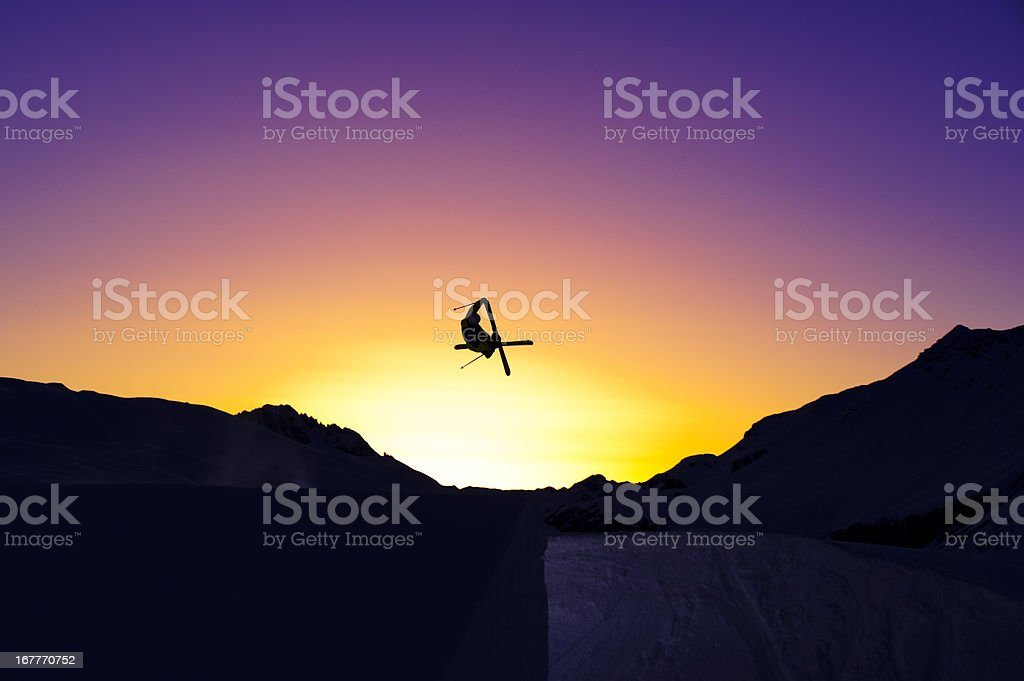Jump on sunset royalty-free stock photo