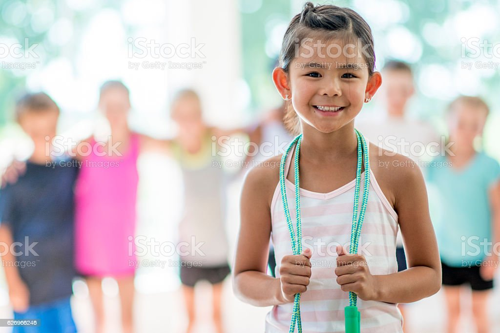 Jump Rope in the Gym stock photo