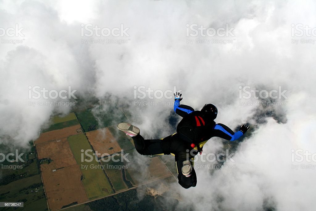 Jump through a cloud - skydive royalty-free stock photo