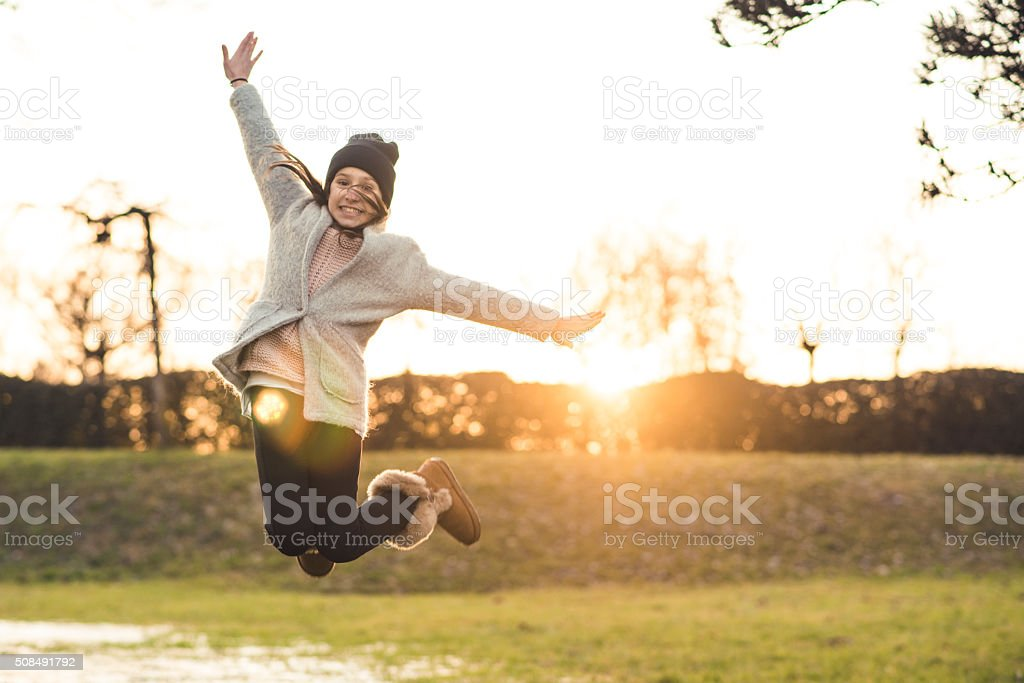 Jump to the sun stock photo
