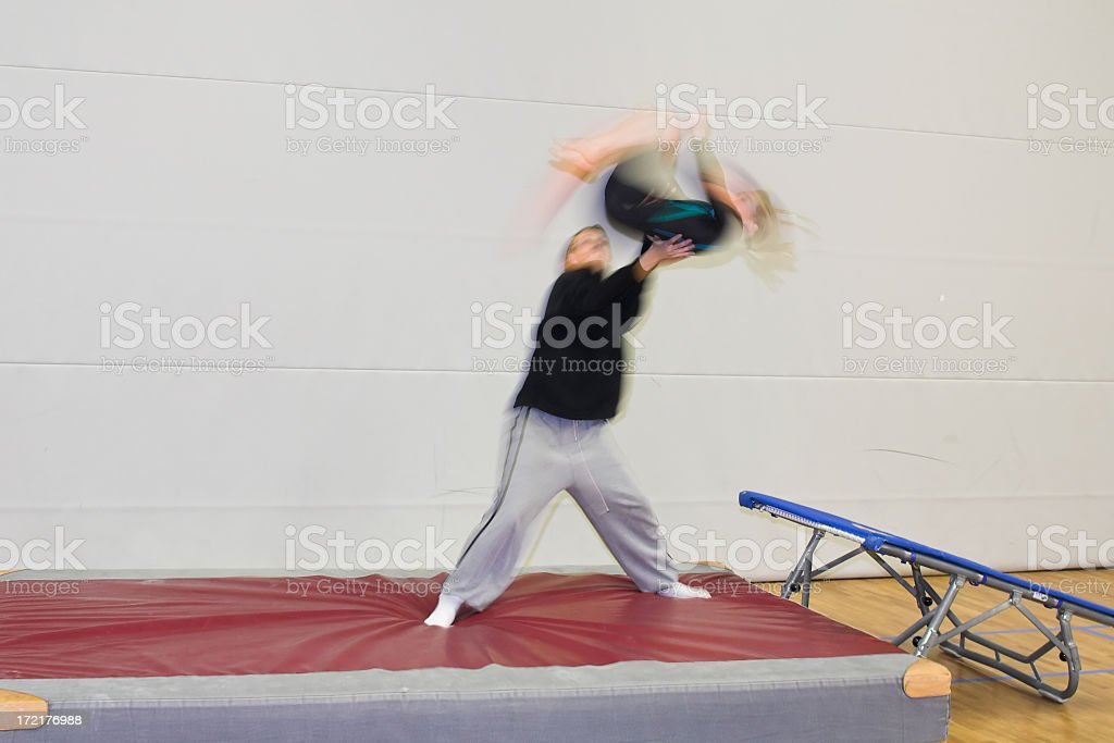 Jump with trampoline stock photo
