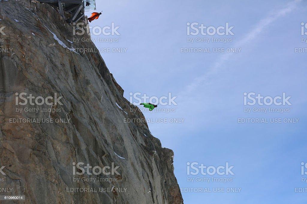 BASE Jumper in Wingsuit stock photo