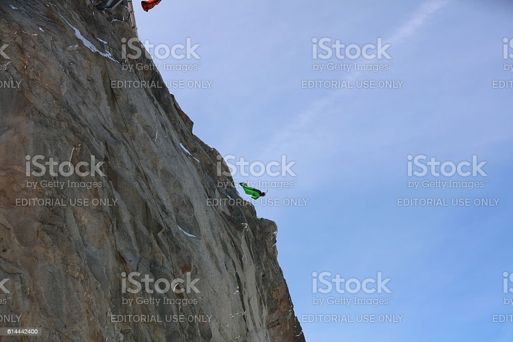 BASE Jumper in Wingsuit stock photo