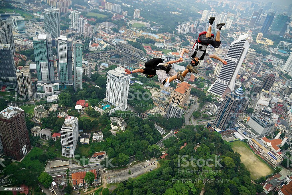 BASE Jumpers in action stock photo