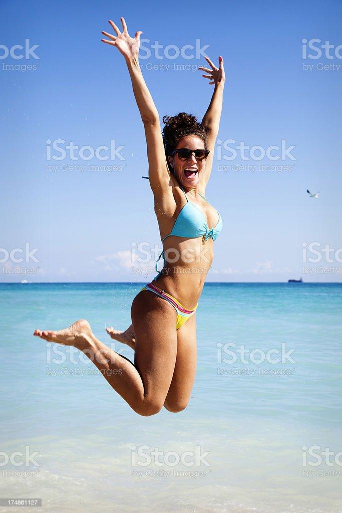 Jumpic Beach Girl royalty-free stock photo